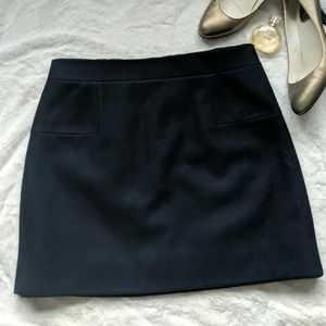 J.CREW Classic Mini Skirt Navy Felted Wool